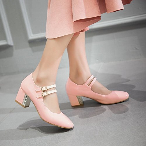 MissSaSa Damen Knöchelriemchen Pumps mit Blockabsatz Pink