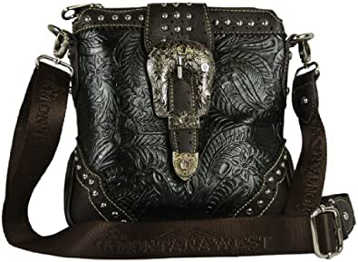Montana West Cross Body Bag Western Style Tooled Faux Leather with Buckle Messenger Style Purse - Available in 3 Colors (Black)