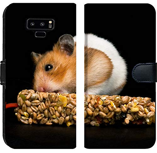 - Samsung Galaxy Note 9 Flip Fabric Wallet Case Image ID: 10492602 Female Hamster with Full Cheeks Eating her Favourite Treat bar Black