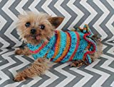 Rustic Dog Puppy Sweater Dress XXS/XS 2 1/2 to 4 Lbs with Ruffle Chihuahua Yorkie Pomeranian Maltese Toy Teacup Breed Turquoise Pink Orange