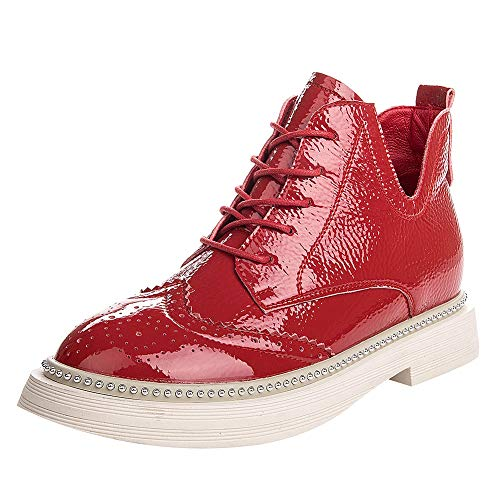 - rismart Womens Shining Patent Leather Lace Up Brogue Ankle Boots Fashion Spring-Autumn Martin Boots Chukka Boots Red SN02841 US6.5