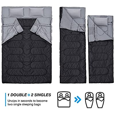 Double Sleeping Bag with 2 Pillows - Extra Large - Queen Size - Converts into 2 Singles - 3 Season for Camping, Hiking, Outdoors
