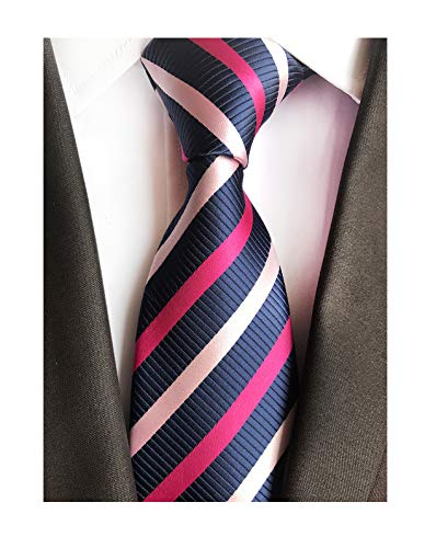 New Classic Navy Pink Striped Tie Woven Jacquard Silk Men's Suits Ties ()
