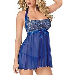 Donna Sexy con Lingerie Babydoll Esotico Pizzo Capestro Blu Abito Pigiama [Grande Size] [2 pezzi] Biancheria Intima con G-String(IT 46/EU 44, Blu)
