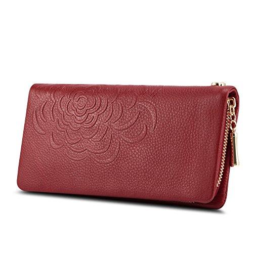 Kattee Soft Cowhide Leather Wallet Ladies Flower-embossed Clutch (Red) by Kattee
