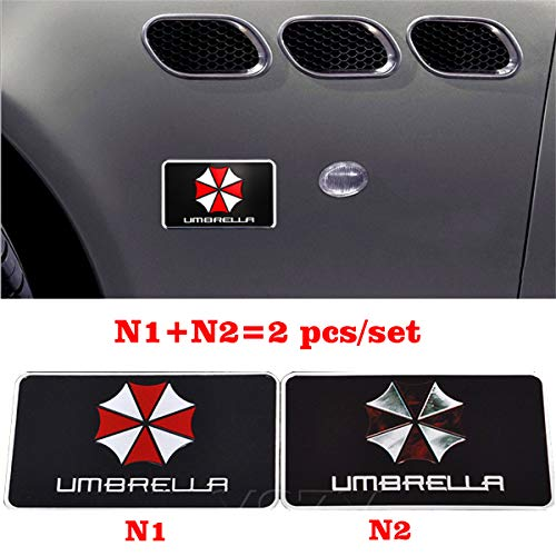 (YSpring 2 pcs/Set Resident Evil Umbrella Corporation Rectangle Black Emblem Decals Aluminum Alloy Badge Sticker for Car Laptop Motorcycle(Style N-1.97in3.15in))