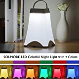 LED Night Light,SOLMORE 7 Colorful Nightlight Lamp,Desk lights,Table Lighting, Adjustable Brightness,Touch Switch Button Control,with Timing off Function and USB Cable for Baby Room Children Bedroom