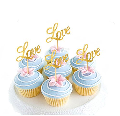 Astra-Gourmet-Pack-of-20-Glitter-Paper-LOVE-Cupcake-Toppers-Wedding-Bridal-Shower-Birthday-Decoration-Fairy-Cake-Topper-Gold