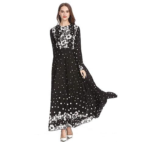 083e72b9bcb87 Amazon.com: Women Dot Dress Vintage, Lady Print Slim Dress Sleek  Temperament Bohe Maxi Dresses Noble Dress Muslim Blouse Ethnic Style:  Kitchen & Dining