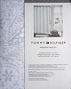 Amazon Com Tommy Hilfiger Fabric Shower Curtain Gray