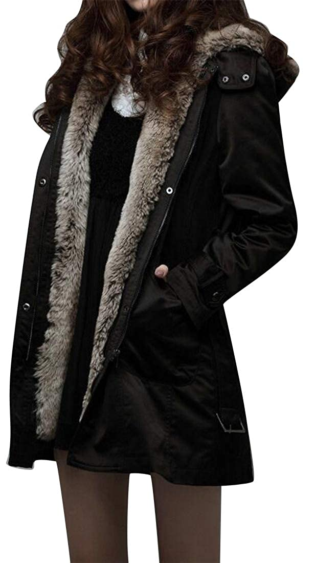 1 OTW Womens Warm Winter Hoodie Parkas Faux Fur Lined Belted Down Coat Quilted Jacket Overcoat