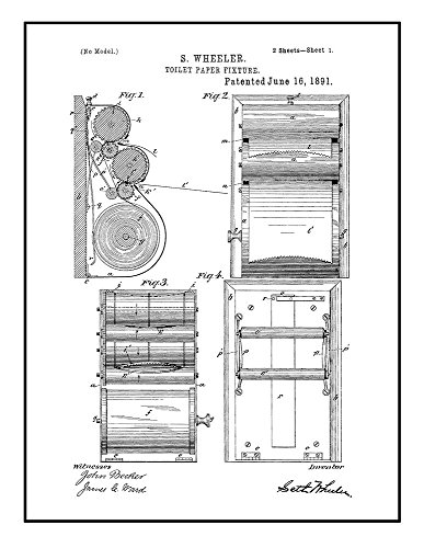 Toilet Paper Fixture Patent Print Black Ink on White with Bo