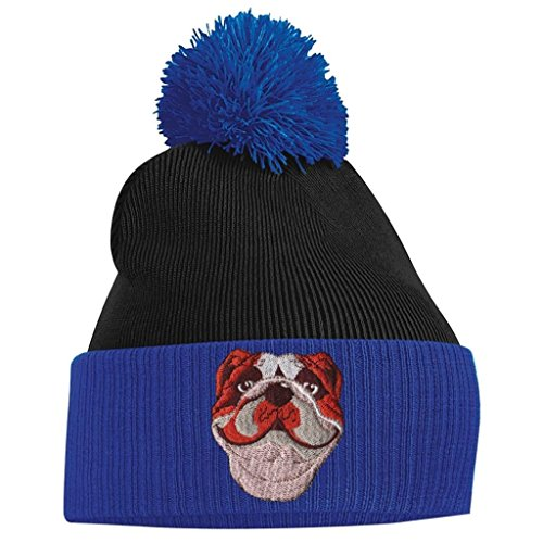 Pom Clothing British Beanie Pom Black Bang Blue Royal Bulldog Tidy and aqwPCxWB5