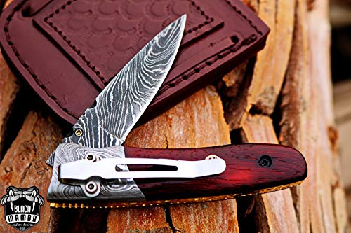 (Black Mamba Knives BMK-405 Laticauda 4 Long 3.5 Blade 5 Ounce Damascus Pocket Clip Knives Handmade Damascus Pocket Folding Knife Leather Cover Hand Made Word Class Knives)