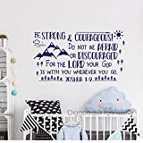 Diggoo Be Strong and Courageous Joshua 1:9 Scripture Wall Decal Arrow Mountains Forest Nursery Kids Room Decor (Dark blue,12.5'' h x 22'' w)