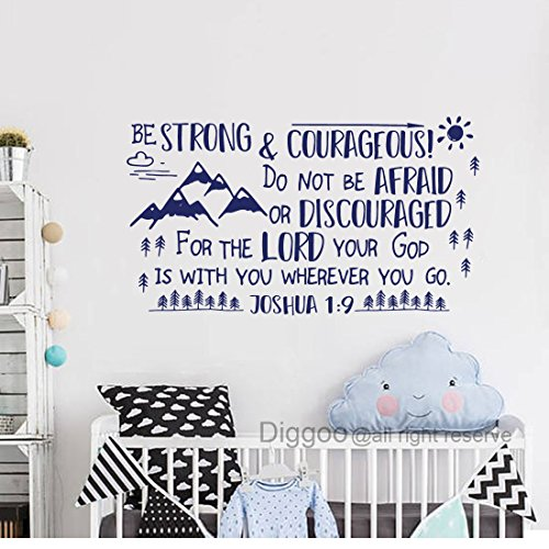 Diggoo Be Strong and Courageous Joshua 1:9 Scripture Wall Decal Arrow Mountains Forest Nursery Kids Room Decor (Dark blue,12.5'' h x 22'' w) by Diggoo