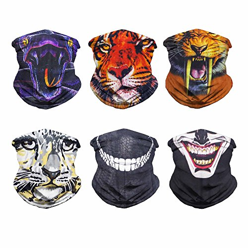 Eytan 8/9/10/11/12 Pcs Multifunctional Headwear Face Shield Neck Gaiter Scarf Wrap Sweatband Headband For Hunting Fishing Hiking – Magic Sports Seamless Tube Bandana (6PCS Face Mask Series)