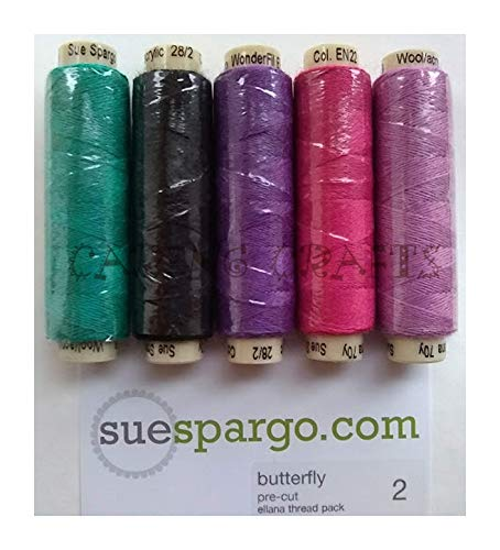 Sue Spargo Ellana Wool Blend Thread for Embroidery - Five 70-Yard Spools, Matches The ''Butterfly'' Colorway 2 Wool Applique Pack ()