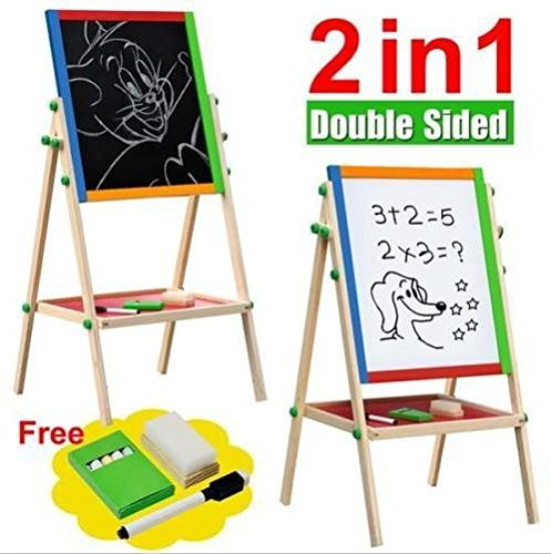 Large Adjustable Children Kids 2 In 1 Black White Wooden EaselDrawing Board (Flip Chart Ease compare prices)