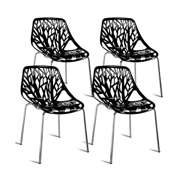 Giantex Modern Dining Chair Birds Nest Set Modern Stackable Plastic Hollow-Out Geometric Style Furniture Outdoor Indoor Dining Side Chair