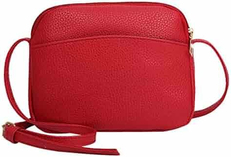 Vintage Women Pure Color Litchi Pattern Leather Crossbody Bag Shoulder Bag 913dd4c2b3756