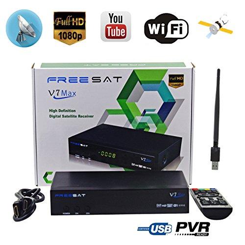 Free Sat Digital FTA V7 Max Decoder HD 1080P Satellite TV Receivers DVB-S2  Receptor, Supports USB PVR Ready, Full PowerVu, DRE &Biss key and USB