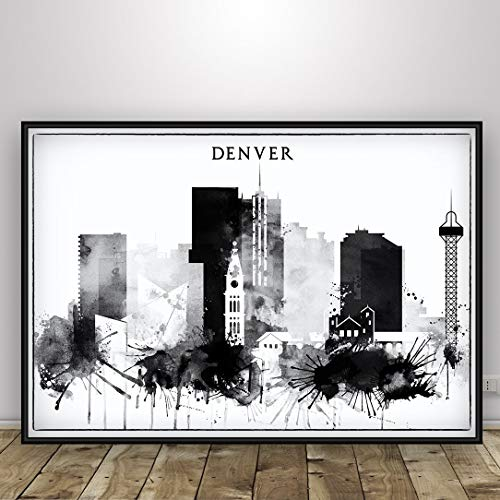 Denver Black and White Watercolor Skyline Print, Denver Colorado Cityscape Poster, Wall Art, Colorado Cityscape Poster, Home Decor, Denver Silhouette, Unframed print