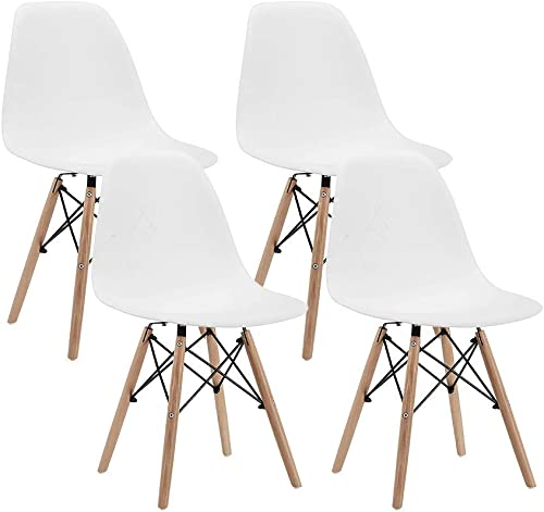 CangLong Modern Mid-Century Shell Lounge Plastic DSW Natural Wooden Leg