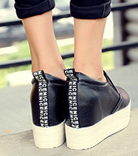 Low Black Platform Top Wedge Shoes Womens Hidden Heel IDIFU Comfy Sneakers Slip Elastic On I6xwIzqOU