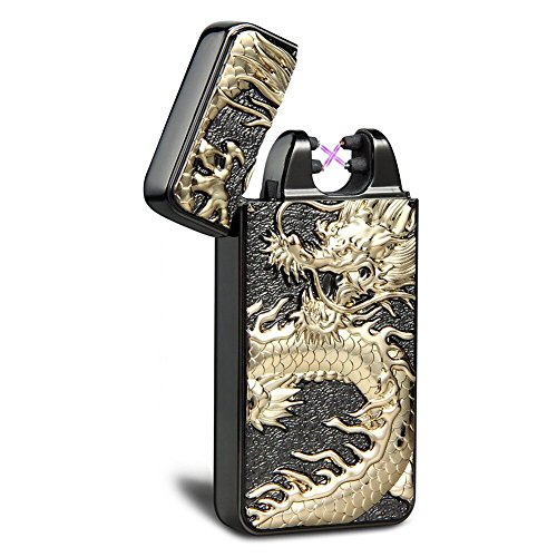 Kivors USB Rechargeable Windproof Flameless Electronic Double Pulse Arc Lighter Relief Chinese Dragon Lighter (Black)