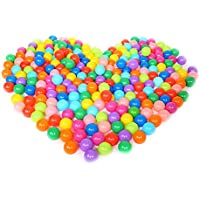 Olymstore 200pcs Baby Ocean Balls Pit Ball, Crush Proof Colorful Soft Plastic Ball Phthalate & BPA Free Playballs, Children Kid Toys Gift Pool Tent Playground Swim Playhouse(5.5 cm-Classic 7 color)