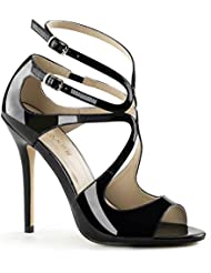 Summitfashions Womens Unique Black Patent Strappy Sandals Shoes with 5 Inch Slim Heels