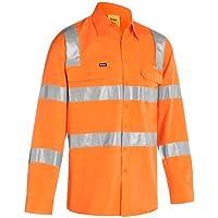 BISLEY WORKWEAR Men's Taped HI VIS Bio Motion Rail Shirt (Rail Orange,Large)