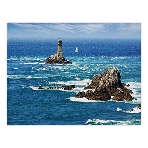 Polyester Rectangular Tablecloth,Lighthouse,Daytime Lighthouse Wavy Ocean View and Clear Sky Rocky Islands Sailboat Decorative,Blue Gray White,Dining Room Kitchen Picnic Table Cloth Cover,for -
