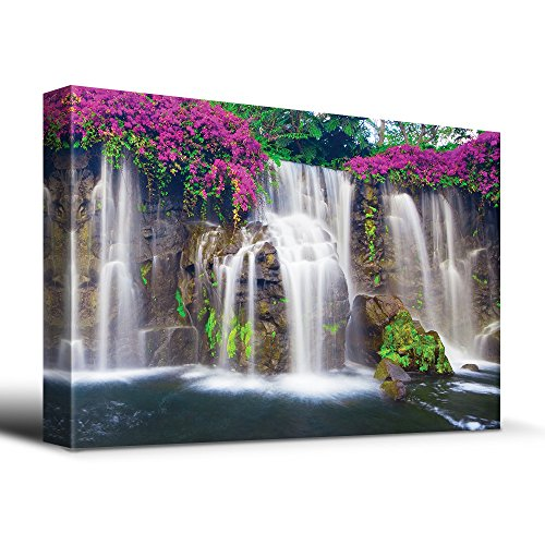 wall26 - Misty Waterfall Picturesque Flowers - Canvas Art Home Decor - 16x24 inches