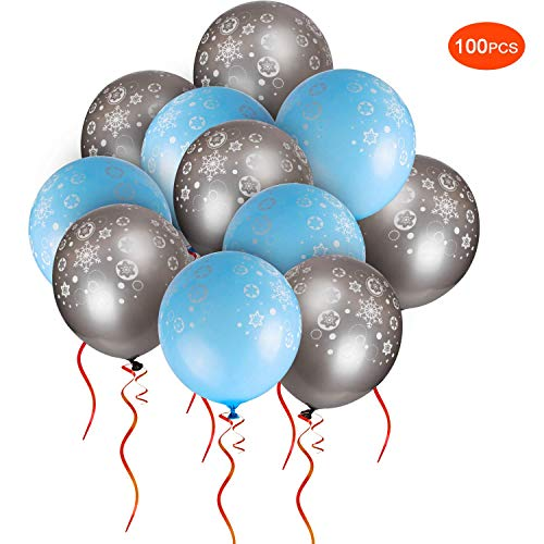 SoFire 100 Pack Blue and Silver Snowflake Printed Christmas Balloons with 100 Pack Glue Dots for Christmas Party Decorations -