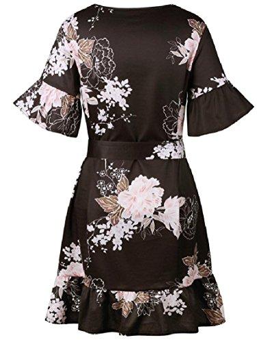 Floral Ruffled Neck Black Print Women Dress Midi Coolred Sleeve Bandage Flare Belt O fnqTF5xAw5