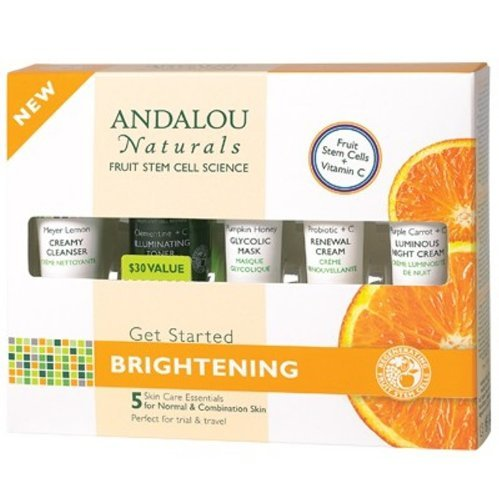Andalou Naturals Brightening Get Started Kit, 5 Piece, Includes Cleanser, Toner, Mask, Probiotic Cream and Night Cream with Vitamin C for Tighter, Brighter Looking - Moisturizer Alba Vitamin C
