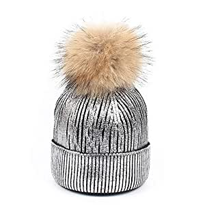 Hat Fashion Knitted Sequin Pompom Hat Winter Women's Oversized Thick Soft Beanie Hats Cap. Fashion Accessories (Color : Silver)