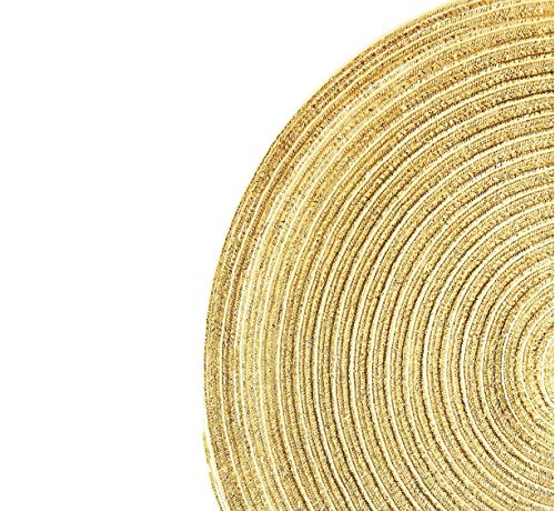 Modernlife Metallic Glitter Round Woven Placemats, Set of 6, 14 Inch Braid Placemat Washable for Kitchen Table (Gloden)