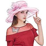 Kentucky Derby Hats for Women, Foldable Organza Tea Party Hats, Fascinator Cap Church Wedding Hat Pink
