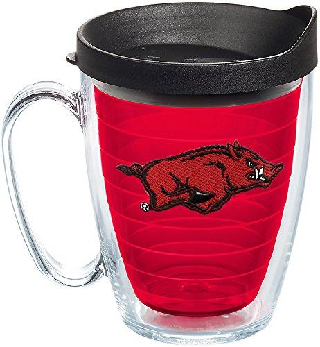 Tervis 1241014 Arkansas Razorbacks Insulated Tumbler with Emblem and Black Lid, 16oz Mug, Red