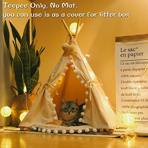 little dove Pet Teepee House Fold Away Pet Tent Furniture Cat Bed no Cushion 28 Inch Litter Box Cover