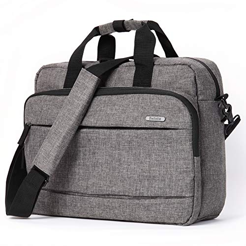 Bellotte Laptop Briefcase,14.1 Inch Laptop Bag,Stylish Canvas Multi-Functional Shoulder Messenger Bag for Notebook Computer Tablet MacBook Acer HP Dell Lenovo,Grey (Grey)
