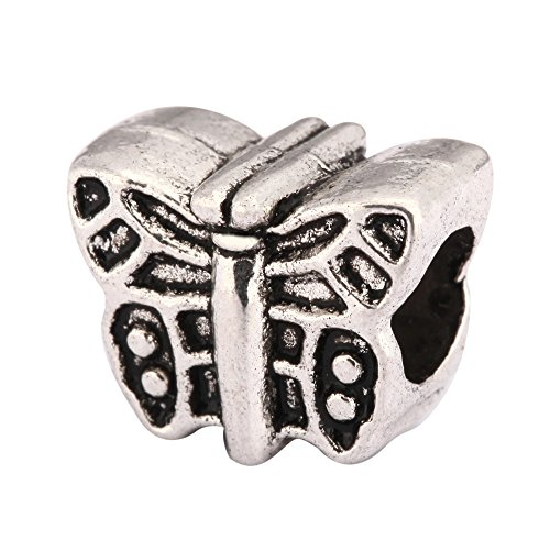 - 10pcs Butterfly Charms Large Hole Beads Antique Silver Tone for Earrings Bracelet Necklace Anklet Jewelry Making MEC-06