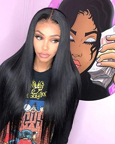 Elesty 13x6 Synthetic Lace Front Wig Black Long Straight Deep Part Lace Front Wigs for Women Natural Hairline Lace Wig (Medium Long Wigs)