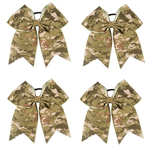 CN 7 Inch Large Baby Girls Cheer Bows Boutique Digital Camou Hair Bow With Elastic Tie For Cheerleading Girls (Cheerleading Hair Ties)
