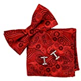 valentines day pre tied bow - BT2172 Red Patterned Fashion Valentines Day Presents For Him Silk Pre-tied Bow Tie Cufflink Hanky Gift Idea By Epoint