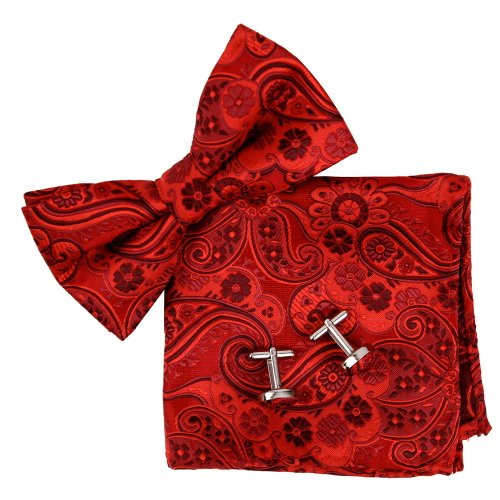 Epoint BT2172 Red Pattern Bowtie Valentines Day Presents For Him Silk Pre-tied Bow Tie Cufflink Hanky Gift Idea