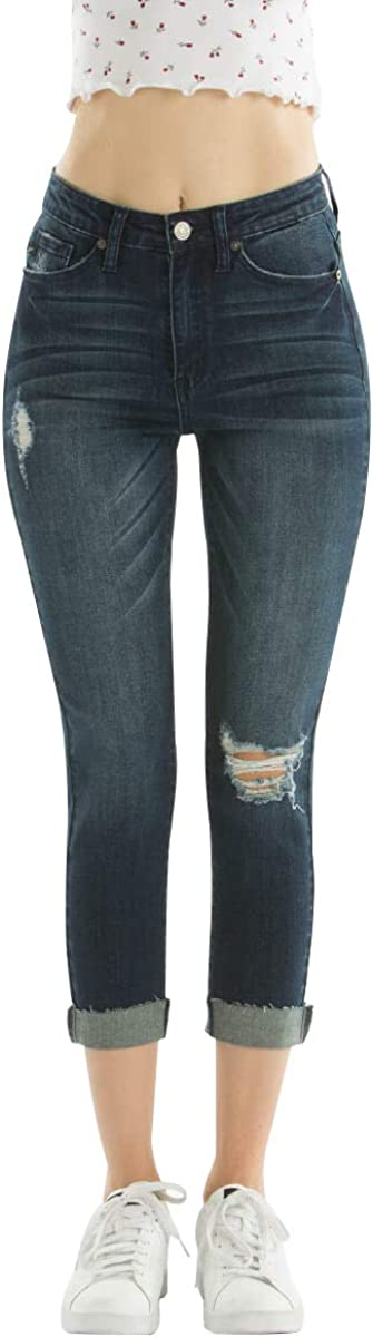 Kan Can Women S High Rise Capri Distressed Kc5019 24 At Amazon Women S Jeans Store